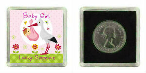 LUCKY SILVER SIXPENCE COIN NEW BABY GIRL KEEPSAKE BABY SHOWER PRESENT GIFT