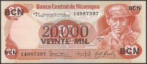 Nicaragua 20000 20,000 Cordobas On 20 1987 UNC P-147 Lot 10 PCS