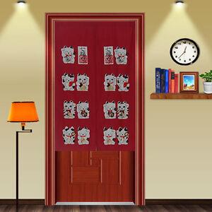 Maneki neko noren curtain lucky cat door curtain red d2911 ebay