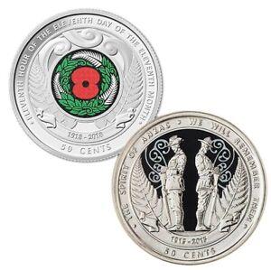 1-x-NZ-2015-ANZAC-amp-1-x-2018-ARMISTICE-Commemorative-Uncirculated-50c-Coins-Rare