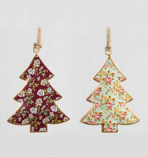 Shabby Vintage Chic en métal ROSE motif arbre de Noël Noël Suspendu Décorations
