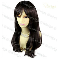 Face Frame Soft Natural Wavy Long Dark Brown Ladies Wig skin top Hair WIWIGS UK