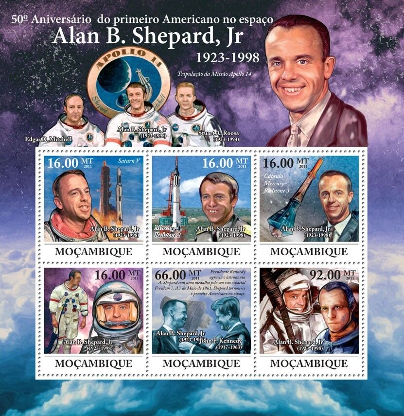 Image 1 - ALAN-SHEPARD-NASA-Astronaut-Apollo-14-JFK-Space-Stamp-Sheet-2011-Mozambique