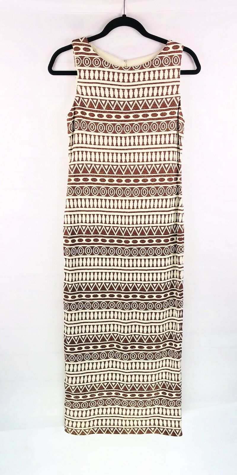 7cc6ab103 St. John Collection Sheath Dress Womens Size 2 Beige Brown Metallic  Sleeveless
