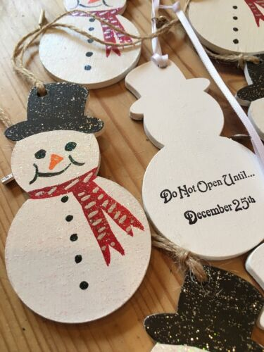 3 X Handmade Christmas Decorations Hand Painted Snowman Personalised On Reverse