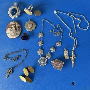 Antique Silver Jewellery Clearing From Old Persons Estate