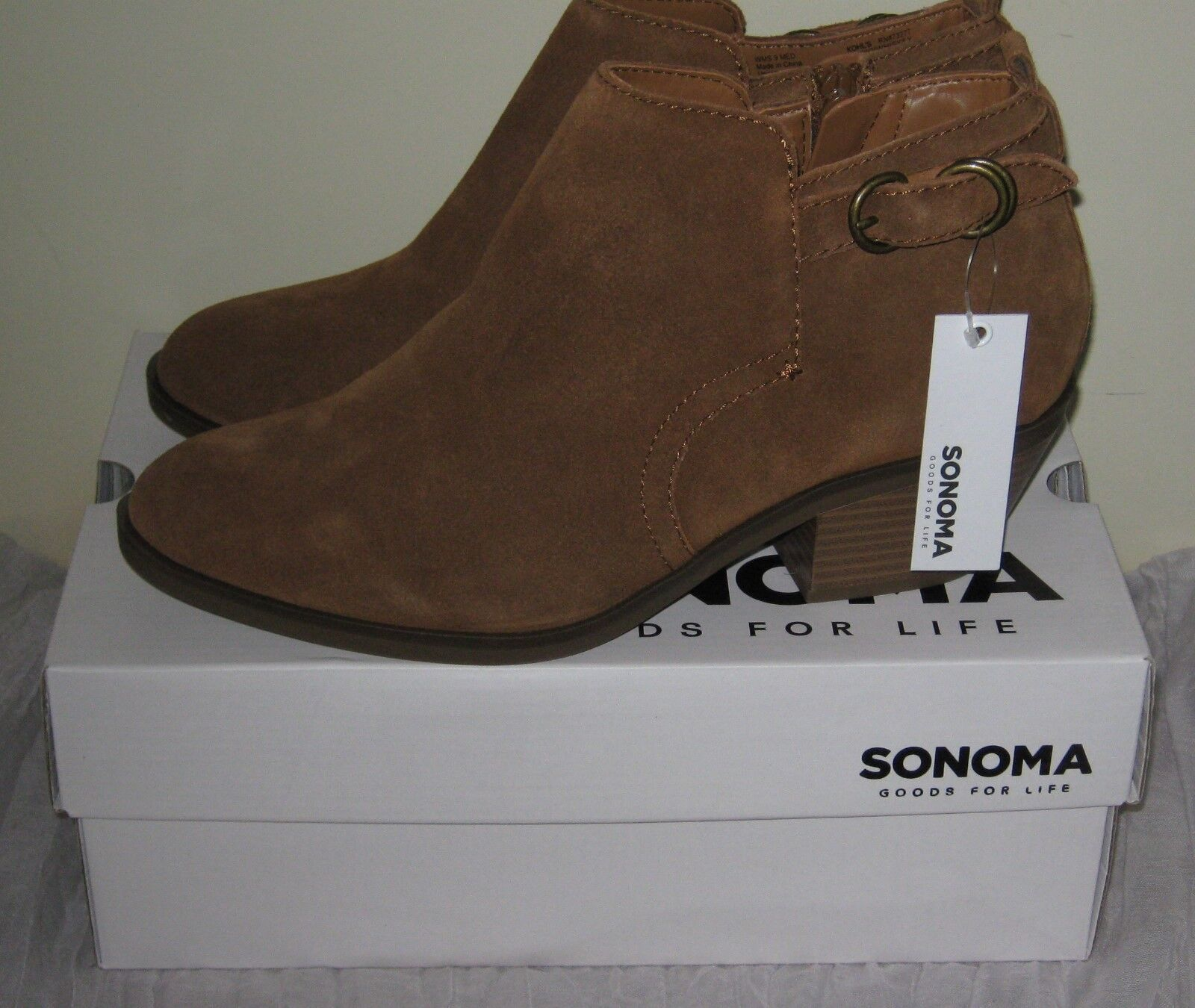 Sonoma Brown Suede Leather Ankle Boots Booties Size Choices 9/8/7.5/6.5 NIB#SH08