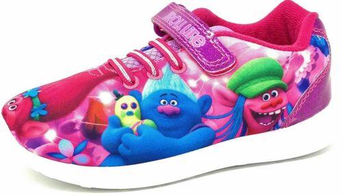 Niñas Niños Trolls carácter Amapola Rosa Púrpura Jogging Zapatillas Zapatos Talla 6-12