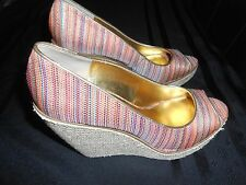 "NINE WEST NW7WILLOW WEDGE 5"" HEELS SHOES WOMENS SIZE 9 OPEN TOE FREE SHIPPING!"