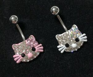 Details About Belly Button Navel Ring Set 2 14g Hello Kitty Enameled Crystal Clear Charm Pink