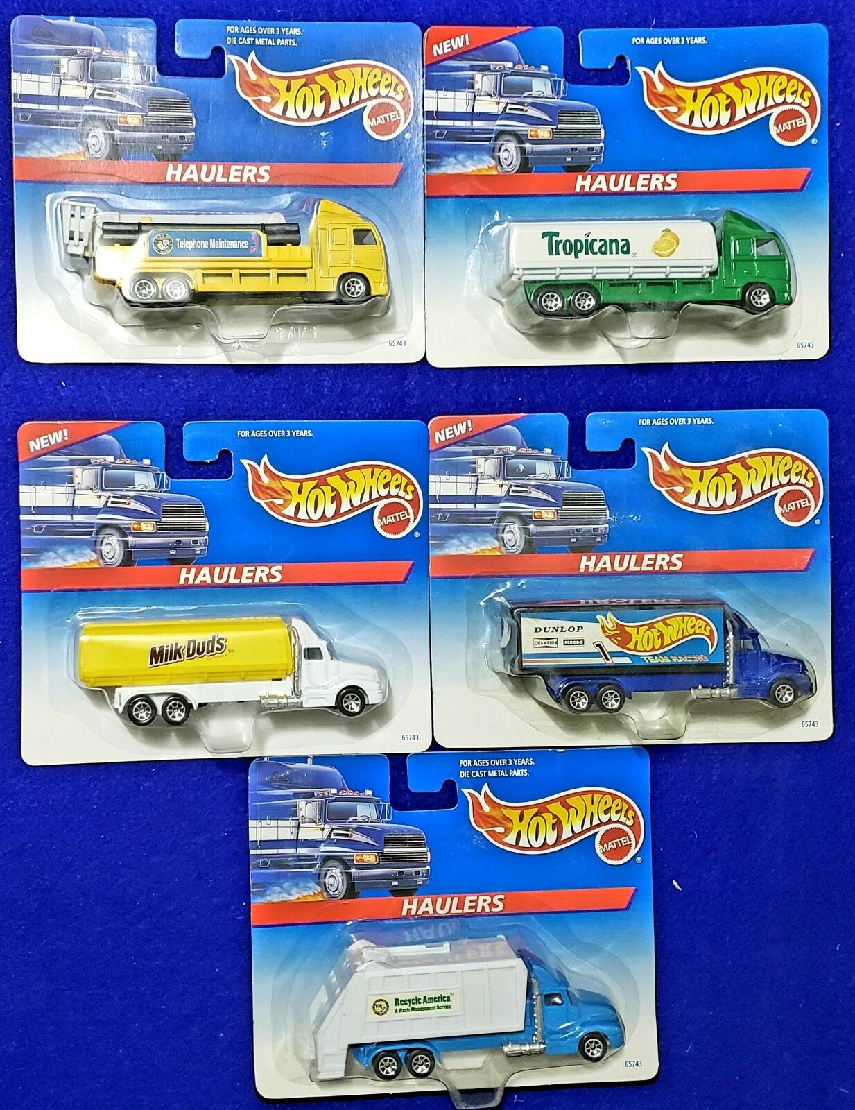 Vintage Lot of 5 1996 Hot Wheels Haulers MIP Tropicana, Milk Duds, Dunlop & More