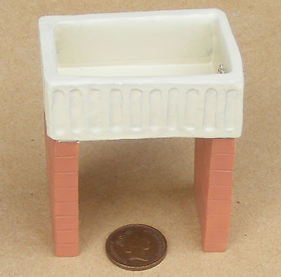 1:12 Oblong Butler Scullery Sink & Stand Dolls House Miniature Kitchen Accessory
