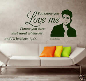 Image Is Loading WALL QUOTES STICKERS JUSTIN BIEBER Wall Stickers WALL  Part 14