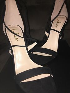89ab678d875 Details about LULUS BLACK LACE UP SUEDE AIMEE HEELS SIZE 8 BRAND NEW