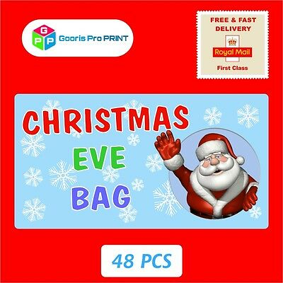 Does Mail Run On Christmas Eve.48x Christmas Christmas Eve Bag Santa Stickers Xmas Gift Seal Label Fun X62 Ebay