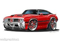 1970-71 Olds 442 350 Wall Art Decal Sticker Graphic Poster Cling Man Cave Decor