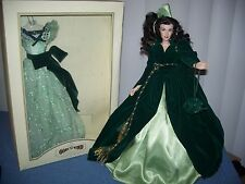 Gone With The Wind Scarlett O'Hara 2 Green Dress Outfits & Doll by Franklin Mint