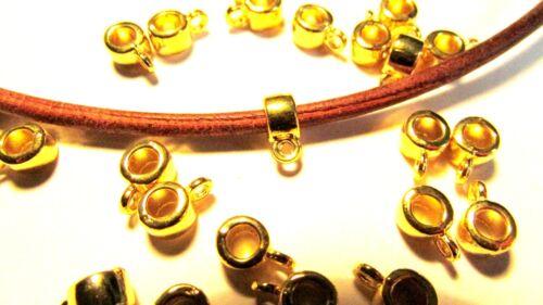 50 pcs of Gold Toned Hanger Bails fits 3mm Dia Cord