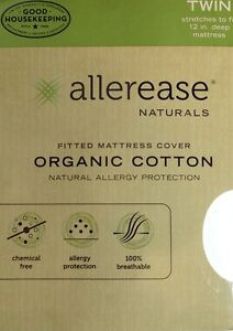 Allerease Naturals Organic Cotton Mattress Cover TWIN