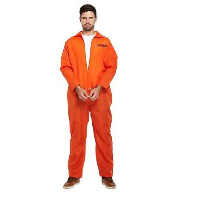 PRISONER ORANGE CANNIBAL JUMPSUIT KILLER PRISON HALLOWEEN FANCY DRESS COSTUME