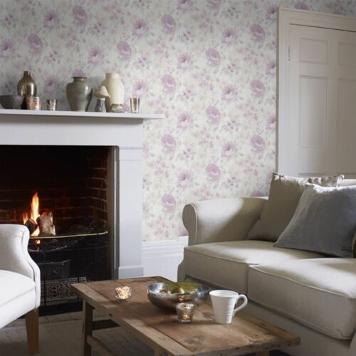 Floral Lilac Grey Wallpaper Water Colour Effect Paste The Wall Holden Decor