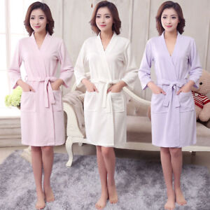 86c60bf417 Men Women Cotton Waffle Bath Robe Suck Sweat Kimono Bathrobe Summer ...
