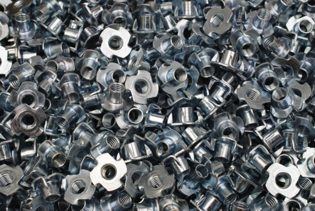 (200) Zinc Plated 3/8-16 x 7/16 Tee Nuts 4-Prong Wood Insert Nut