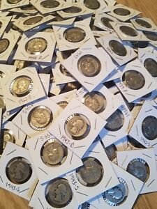 90/% Silver FULL DATE Washington Quarters 1932-1964 LOT OF Old Coins Lot 10