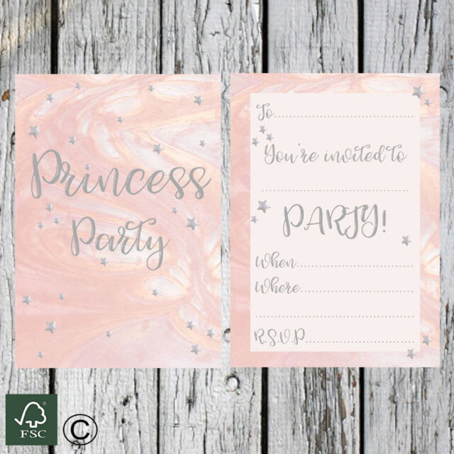 Girls Birthday Party 16 Pack Of Invitations Princess Pink Childrens Kid Invites
