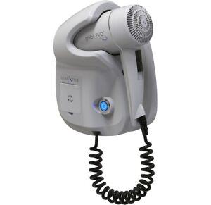 HOSPISTYLE-GHIBLI-EVO-HUB-Asciugacapelli-da-Parete-1800W-Porte-USB-Bianco