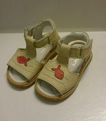BABY Jungen Kinder Schuhe SANDALEN MADE IN ITALY Gr. 24 Beige Fisch Rot LEDER