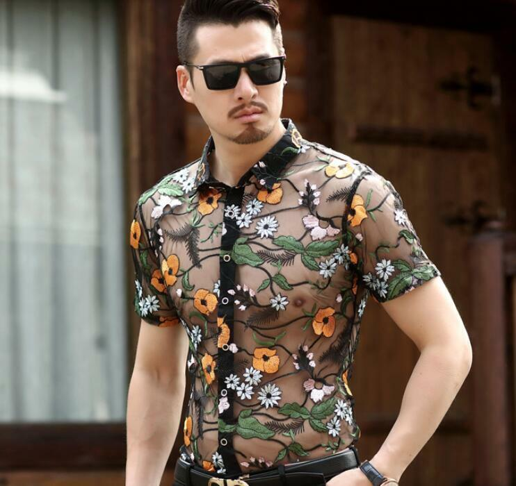 Men Mesh Breathable Shirts Short Sleeve Lapel Slim Fit Embroidery Floral Printed