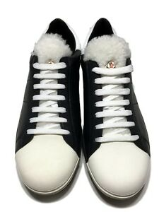 NEW-MONCLER-MEN-039-S-BLACK-AND-WHITE-SHEARLING-TONGUE-SNEAKERS-42-795