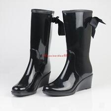 UK 5 DKNY Womens Marsha Black Metallic Rain BOOTS Shoes UK 6
