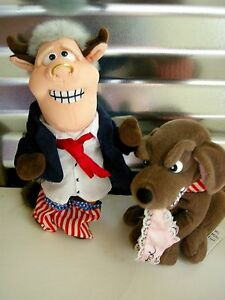 Bull Clinton & Buddy The Dog INFAMOUS MEANIES PAIR PLUSH 1998 W PINK UNDIES NWT