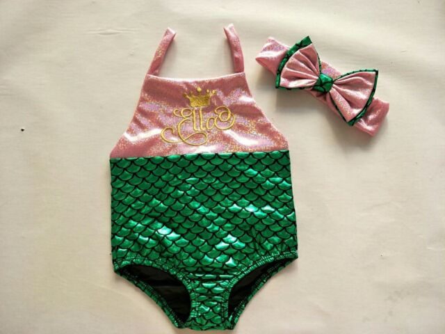 Kids Baby Girls Mermaid Swimsuit Bodysuit Costume Swimwear Beach Bikini Set Bow