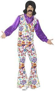 sale retailer 98c3f 4c355 Dettagli su Uomo Hippy 1960s Anni '60 Anni 70 Moda Pop Art Costume Vestito  M-XL