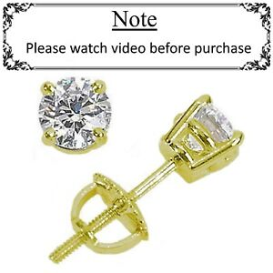 1a7869d6a 1.90 ct ROUND CUT diamond stud earrings 14K YELLOW GOLD COLOR REAL ...