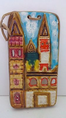 "Stoneware Sand Castle Beach Hand Painted Multicolored 9"" x 4-1/2"" Wall Plaque"