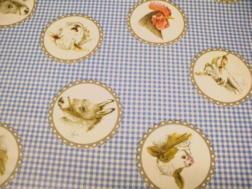 Farm Animals Blue Check PVC Vinyl Wipe Clean Oilcloth Tablecloth