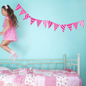 Kids Bedroom Bunting childrens / kids bedroom bunting flags wall art stickers decals