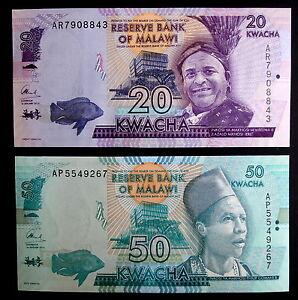 MALAWI-Lote-billetes-20-y-50-Kwacha-2014-S-C-UNC-Banknotes-set