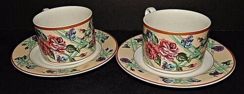 Fitz & Floyd Omnibus Brittany Stoneware 2 Soup Mug Cup and Saucer Roses 1995