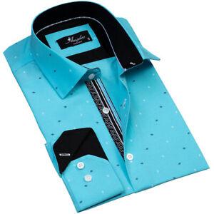 Amedeo Exclusive Men's Button Down Shirt Turquoise Blue Diamonds 100% Cotton