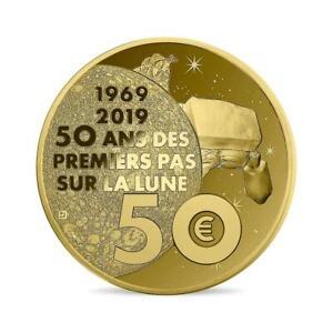 50 Euros or – 1er Pas sur la Lune – 1/4 oz – 7.780g - 500 Ex.