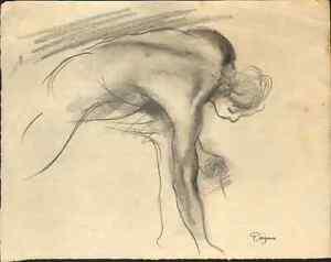 Edgar-Degas-signed-original-pencil-study-039-Homme-nu-penche-039-La-Fille-de-Jephte