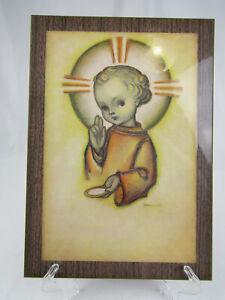 RARE-Vintage-Goebel-Hummel-Jesus-Religious-Print-Laminated-to-Wood-Wall-Hanging