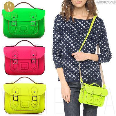 "8.5"" MINI NEON BRITISH REAL GENUINE LEATHER SATCHEL BAG Women's Fluro Handbag"