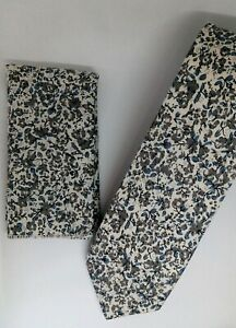 15cdd8005f78 Pearl Grey & Airforce Blue Liberty floral skinny cotton Tie & Pocket ...