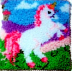 Details About Hobbycraft Latch Hook Rug Pillow Kit A Unicorn Tool Included